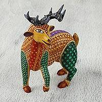 Wood alebrije figurine, 'Woodland Friend' - Colorful Handcrafted Wood Mexican Alebrije Deer Sculpture