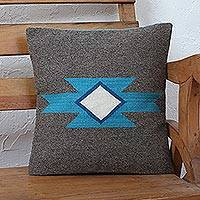Zapotec wool cushion cover, 'Tradition Meets Modernity' - Naturally Dyed Handwoven Grey Turquoise Wool Cushion Cover