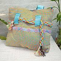 Cotton tote, 'Lovely Sky' - Handwoven Cotton Tote in Sky Blue from Mexico