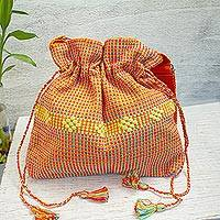 Cotton sling, 'Dainty Tangerine' - Handwoven Cotton Sling Handbag in Tangerine from Mexico