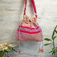 Cotton sling, 'Dainty Fuchsia' - Handwoven Cotton Sling Handbag in Fuchsia from Mexico
