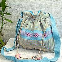 Cotton sling, 'Dainty Sky' - Handwoven Cotton Sling Handbag in Sky Blue from Mexico