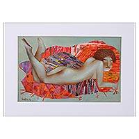 'Nude with Orange Pillows' - Signed Mixed Media Painting in Orange from Mexico