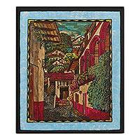 Straw painting, 'Creeper Street' - Signed Framed Straw Painting of a City Street from Mexico