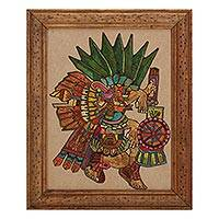 Straw painting, 'Maguey God' - Signed Framed Straw Painting of a Mayan God from Mexico