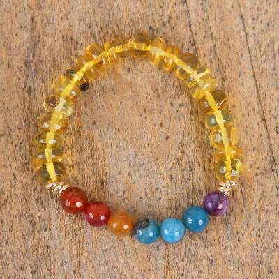 Amber and agate stretch bracelet, 'Agate Rainbow' - Amber and Multi-Colored Agate Beaded Stretch Bracelet