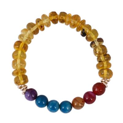 Amber and Multi-Colored Agate Beaded Stretch Bracelet