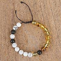 Multi-gemstone beaded bracelet, 'Artistic Contrast' - Amber, White Agate and Onyx Handcrafted Beaded Bracelet