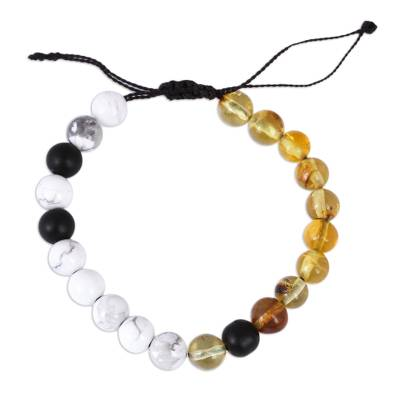 Amber, White Agate and Onyx Handcrafted Beaded Bracelet