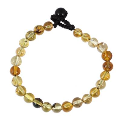 Handcrafted Amber Beaded Wristband Bracelet