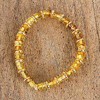 Amber stretch bracelet, 'Double Glow' - Handcrafted Amber and Gold-Plated Bead Stretch Bracelet