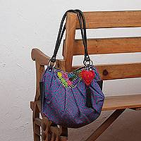 Leather accent cotton hobo bag, 'Boho Garden' - Colorful Cotton Hobo Shoulder Bag with Embroidered Flowers