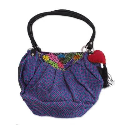 Colorful Cotton Hobo Shoulder Bag with Embroidered Flowers