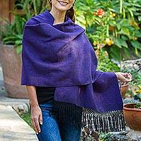Zapotec cotton rebozo shawl, 'Striped Diamonds in Purple' - Zapotec Purple and Black Diamond Striped Cotton Rebozo