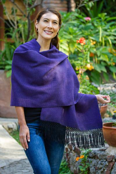 Zapotec cotton rebozo shawl, Striped Diamonds in Purple