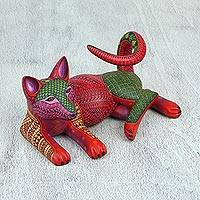 Wood alebrije statuette, 'Relaxing Dog' - Handcrafted Copal Wood Dog Alebrije from Mexico