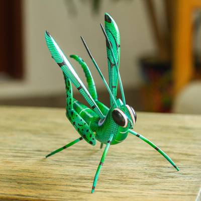 Wood alebrije statuette, 'Cricket Song' - Handcrafted Copal Wood Cricket Alebrije from Mexico