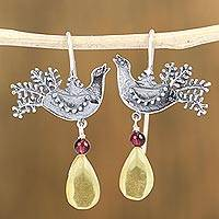 Amber and garnet drop earrings, 'Bird Glory' - Sterling Silver Bird Drop Earrings with Amber and Garnet