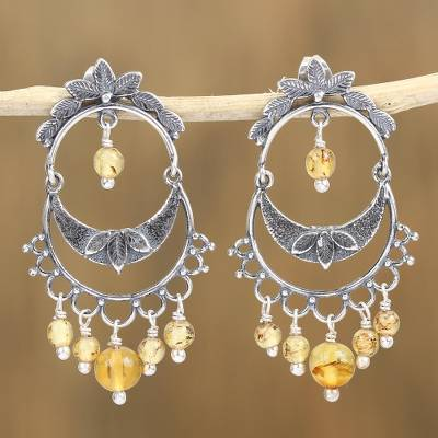 Amber chandelier earrings, 'Shimmering Cascade' - Sterling Silver and Amber Chandelier Earrings from Mexico