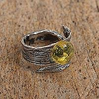 Amber wrap ring, 'Hopeful Light' - Amber and Sterling Silver Wrap Ring from Mexico