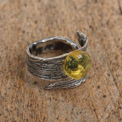 Amber and Sterling Silver Wrap Ring from Mexico