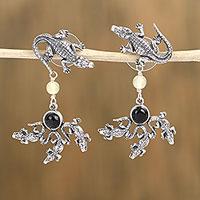 Amber and agate dangle earrings,