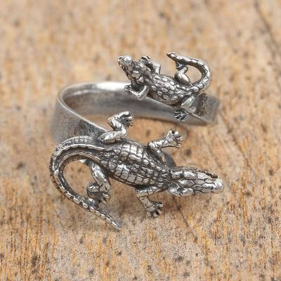 Sterling Silver Crocodile Wrap Ring from Mexico
