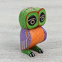 Wood alebrije figurine, 'Owl Joy' - Handcrafted Copal Wood Alebrije Owl Figurine from Mexico