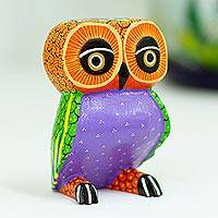 Wood alebrije figurine, 'Nocturnal Mirage' - Mexican Hand Painted Copal Wood Owl Alebrije Sculpture