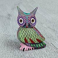Wood alebrije figurine, 'Nocturnal Mystery' - Handmade Owl with Ear Tufts Alebrije Figurine from Mexico