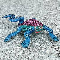 Wood alebrije figurine, 'Iguana Friend' - Handcrafted Copal Wood Alebrije Iguana Figurine