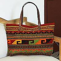 Zapotec leather accent wool shoulder bag, 'Geometric Spirals' - Handwoven Geometric Wool Shoulder Bag from Mexico