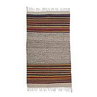 Zapotec wool area rug, 'Colorful Lines' (2x3) - Zapotec Striped Wool Area Rug (2x3) from Mexico