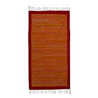 Zapotec wool area rug, 'Vibrant Stripes' (2.5x4) - Paprika and Maize Zapotec Wool Area Rug (2.5x4) from Mexico