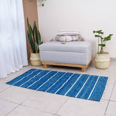 Wool area rug, 'Azure Stripes' (2.5x5) - Azure and Linen Striped Wool Area Rug (2.5x5) from Mexico