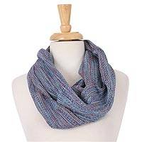 Cotton infinity scarf, 'Blue Chill' - Handwoven Blue-Tone Cotton Infinity Scarf from Mexico