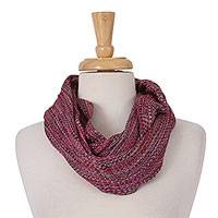 Cotton infinity scarf, 'Wintry Style' - Handwoven Mexican Cotton Unisex Infinity Scarf