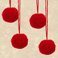 Wool ornaments, 'Soft Spheres in Cherry' (set of 4) - Set of Four Wool Ornaments in Cherry from Mexico