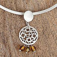 Amber collar necklace, 'Geometric Expressions' - Amber and Sterling Silver Circles Pendant Collar Necklace