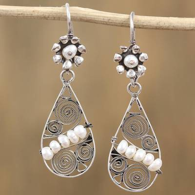 Cultured pearl dangle earrings, 'Pearls in the Wind' - Cultured Pearl and Sterling Silver Teardrop Dangle Earrings