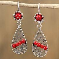 Sterling silver dangle earrings, 'Fiery Tears' - Red Glass Bead and Sterling Silver Teardrop Dangle Earrings