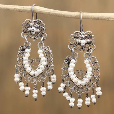 Cultured pearl chandelier earrings, 'Ballroom Splendor' - Cultured Pearl Sterling Silver Scroll Chandelier Earrings