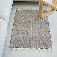 Zapotec wool rug, 'Versatile in Grey' (2x3) - 100% Wool Handwoven Grey and Beige Striped Area Rug (2x3)