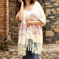 Zapotec cotton rebozo shawl, 'Morning Rose' - Off-White and Fuchsia Striped Handwoven Cotton Rebozo