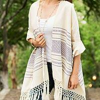 Zapotec cotton rebozo shawl, 'Daylight Sky' - Off-White and Purple Striped Handwoven Cotton Rebozo