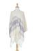 Zapotec cotton rebozo shawl, 'Daylight Sky' - Off-White and Purple Striped Handwoven Cotton Rebozo (image 2b) thumbail