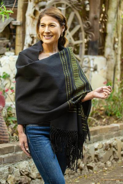 Zapotec cotton rebozo shawl, Night Band in Yellow