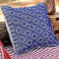 Cotton cushion cover, 'Sky Lattice' - Handwoven Navy and White Brocade Cotton Cushion Cover