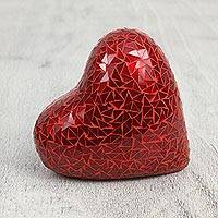 Ceramic and glass mosaic figurine, 'Brilliant Love' (7 inch) - Handcrafted Red Heart Glass Mosaic Ceramic Figurine (7 Inch)