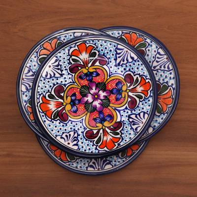 Ceramic luncheon plates, 'Radiant Flowers' (set of 4) - Set of 4 Talavera Style Ceramic Luncheon or Salad Plates